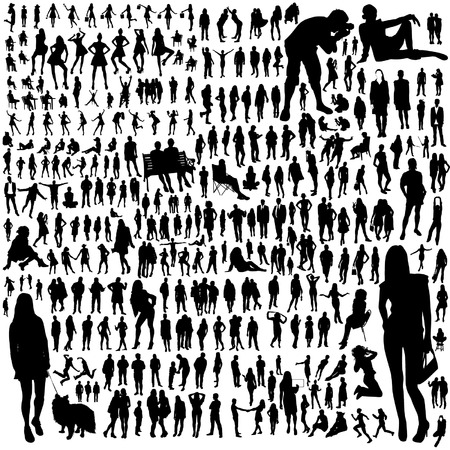 Photo pour Set of people silhouettes - image libre de droit