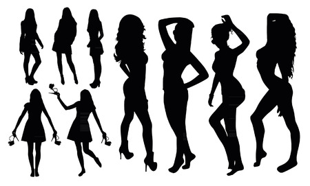 Illustration for Girl Silhouettes - Royalty Free Image