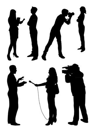 Illustration pour Interview Silhouettes - image libre de droit