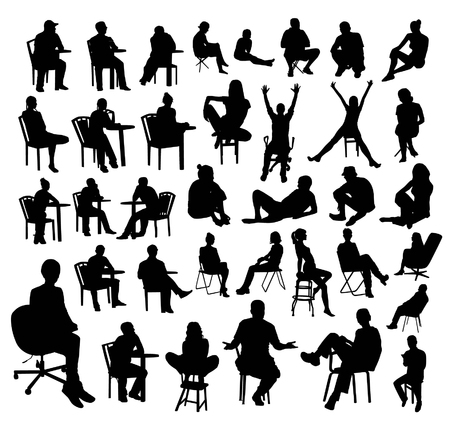 Illustration for Sitting people silhouettes - Royalty Free Image