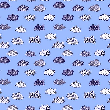 Illustration pour Creative conceptual hand drawn clouds illustration seamless pattern background - image libre de droit