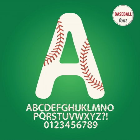 Baseball Ball Alphabet and Digit Vector