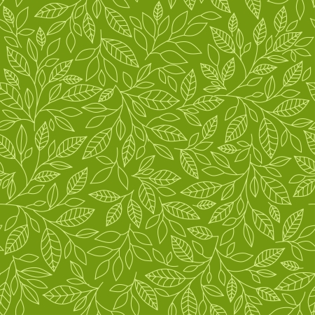 Illustration pour Seamless pattern of stylized leaves on a green background - image libre de droit