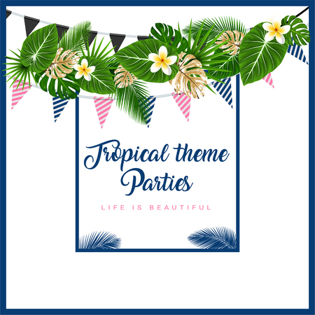 Illustration pour Poster or Invitation card with tropical themed garland with palm leaves, flowers, flags. Vector illustration - image libre de droit