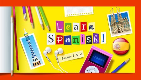 Ilustración de Concept of Spanish language courses. Learn spanish word made with carved paper cut letters, pencils, mp3 player and headphones. Vector illustration - Imagen libre de derechos