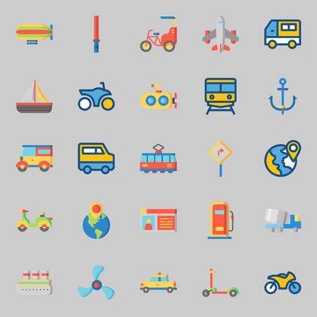 Illustration pour Icons set about Transportation with scooter, tram, stick, train, bike and anchor - image libre de droit