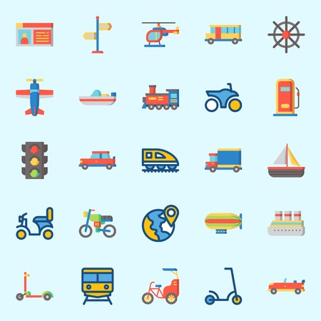 Illustration pour Icons set about Transportation with sport  car, locomotive, helicopter, cruise ship, zeppelin and driving license - image libre de droit