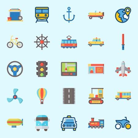 Illustration pour icons set about Transportation. with airplane, tram, van, bicycle, car and rudder - image libre de droit