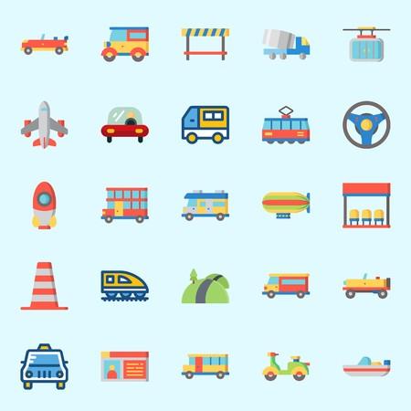 Illustration pour Icons set about Transportation with double decker, road block, bus, truck, road and rocket - image libre de droit