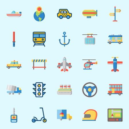 Illustration pour icons set about Transportation. with zeppelin, traffic light, stick, airplane, helmet and anchor - image libre de droit