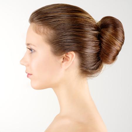 Photo pour Profile portrait young adult woman with clean fresh skin - image libre de droit