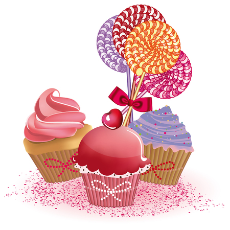 Illustration pour Cute cupcakes and lollipops - image libre de droit