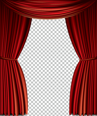 Illustration pour Red curtain full vector isolated on a transparent background - image libre de droit