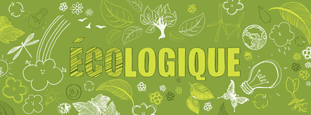 Ilustración de french ecologic green illustrations doodles vector banner - Imagen libre de derechos