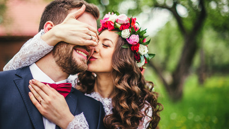 Photo for Wedding couple embracing each other. Moment of joy - Royalty Free Image