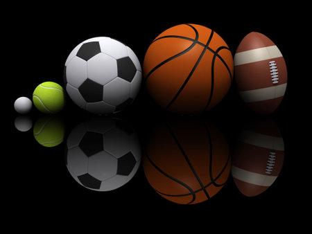 Five different sports on black background - 3d render