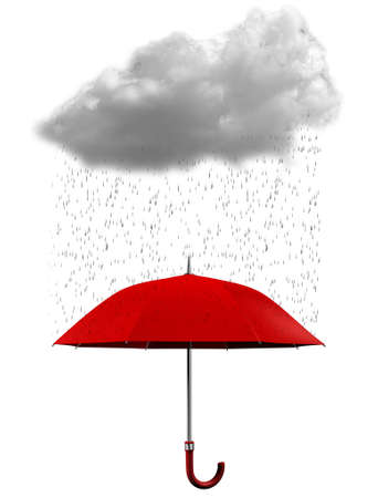 A cloud, rain and an umbrella on white background - rendered in 3d