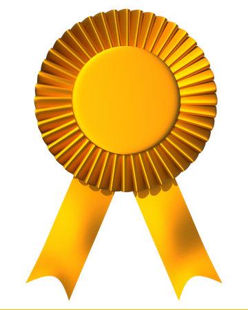Foto de Yellow ribbon first place award isolated on white - 3d render - Imagen libre de derechos
