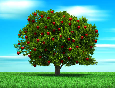 Foto de Tree with apple fruits, surreal and conceptual look - 3d render illustration - Imagen libre de derechos