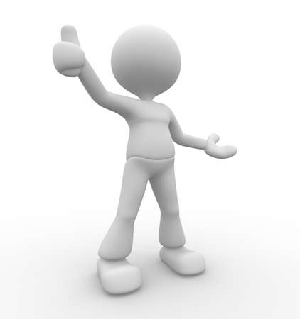 3d people - man, person showing OK sign.