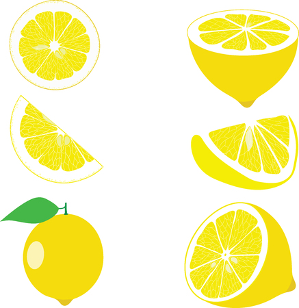 Ilustración de Lemon slices, collection of vector illustrations on a transparent background - Imagen libre de derechos