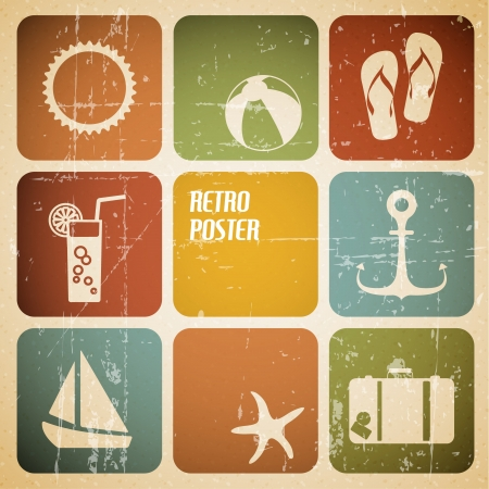 Vector summer poster made from icons - retro color version