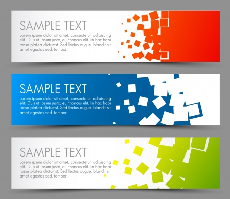 Illustration for Simple colorful horizontal banners - with square motive - Royalty Free Image