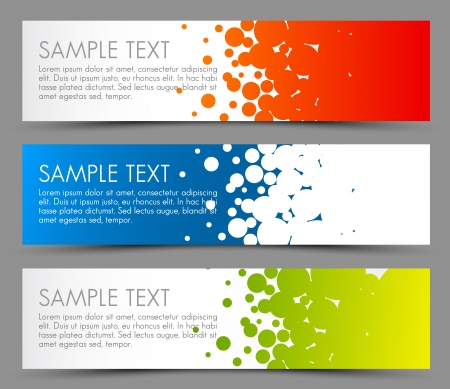Illustration pour Simple colorful horizontal banners - with circle motive - red, blue and green - image libre de droit