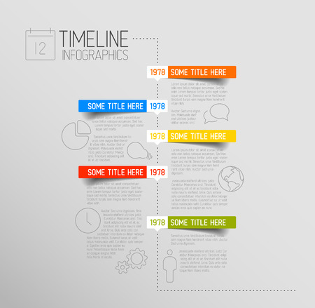 Illustration pour Vector Infographic timeline report template with icons and rounded labels - image libre de droit