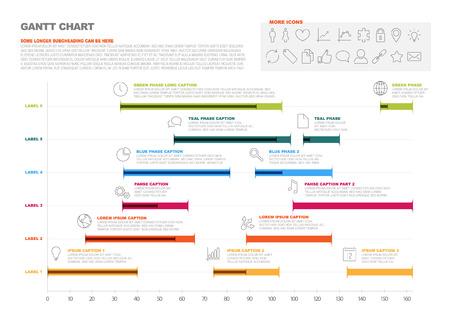 Illustration pour Vector project timeline graph - gantt progress chart of project - image libre de droit
