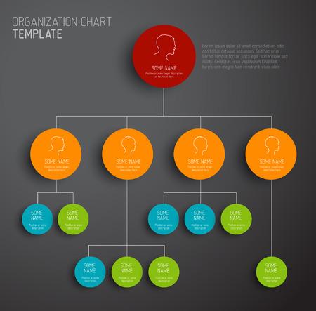Ilustración de Vector modern and simple dark organization chart template with profiles - Imagen libre de derechos