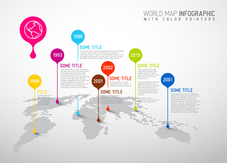 Photo pour Light World map with pointer marks -  communication concept - image libre de droit