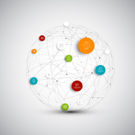 Illustration for abstract circles illustration / infographic network template with place for your content  - Royalty Free Image