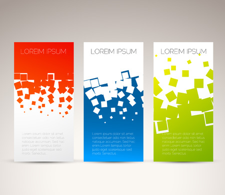 Illustration pour Simple colorful horizontal banners - with square motive - image libre de droit