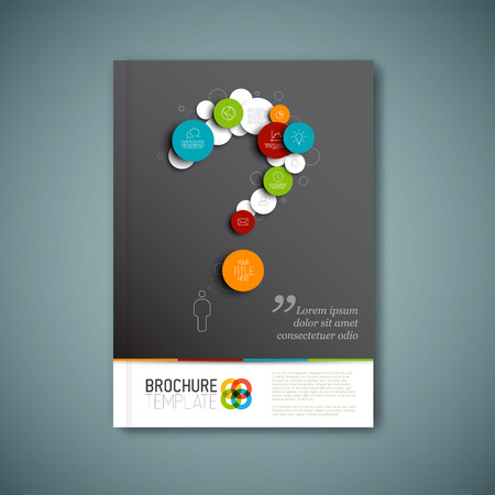 Illustration pour Modern Vector abstract brochure, report or flyer design template with question mark - image libre de droit