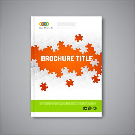 Illustration pour Modern Vector abstract brochure, report or flyer design template with puzzle pieces - image libre de droit