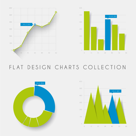Illustration pour Set of vector flat design infographics statistics charts and graphs -blue and green version - image libre de droit