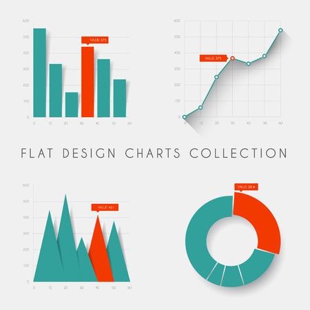 Ilustración de Set of vector flat design infographics statistics charts and graphs - teal and red version - Imagen libre de derechos