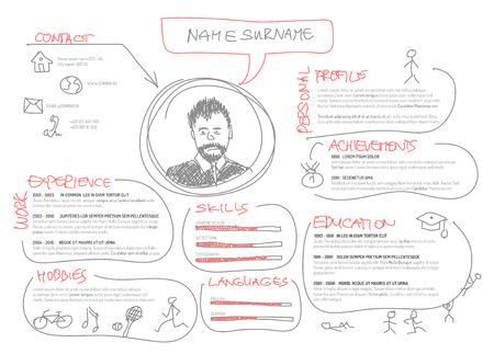 Illustration pour Vector original minimalist cv / resume template - creative doodle version - image libre de droit