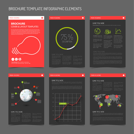 Ilustración de Set of modern brochure flyer design templates with graphs, charts and other infographic elements - red  and green dark version - Imagen libre de derechos