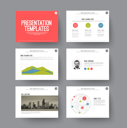 Ilustración de Vector Template for presentation slides with graphs and charts - Imagen libre de derechos