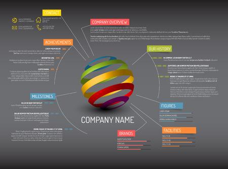 Ilustración de Vector Company overview design template - dark version - Imagen libre de derechos