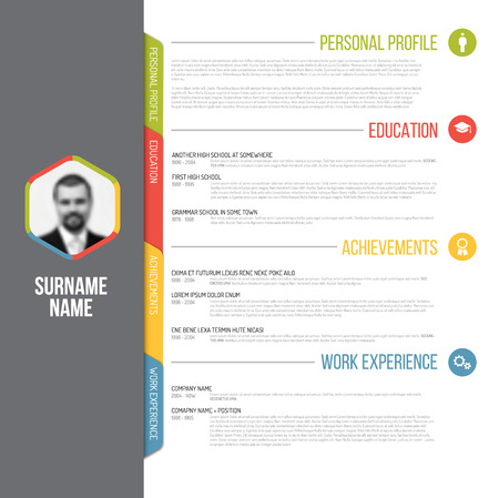 Illustration pour Vector minimalist cv / resume template design with profile photo - image libre de droit