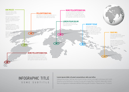 Illustration pour Light World map with pointer marks - communication concept - image libre de droit