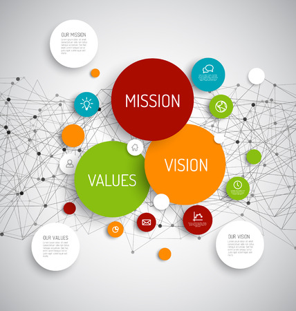 Illustration pour Vector Mission, vision and values diagram schema infographic with network in the background - image libre de droit