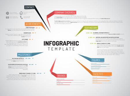 Ilustración de Vector Company infographic overview design template with colorful labels - Imagen libre de derechos
