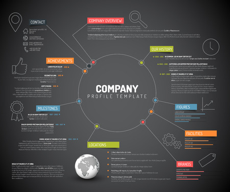 Ilustración de Vector Company infographic overview design template with colorful labels and icons - dark version - Imagen libre de derechos
