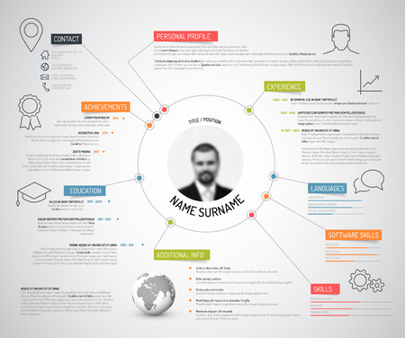 Ilustración de Vector original minimalist cv / resume template - creative version with colorful headings and icons - Imagen libre de derechos
