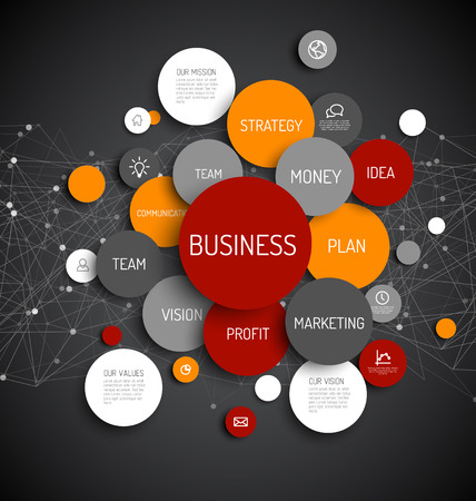 Illustration pour Abstract Business infographic schema - dark red and orange version - image libre de droit