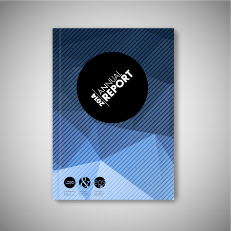 Illustration pour Modern Vector abstract brochure / book / flyer design template - blue polygon version - image libre de droit